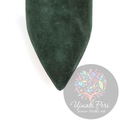 Ботильоны Bluzi замшевые темно-зеленые на шпильке, фото