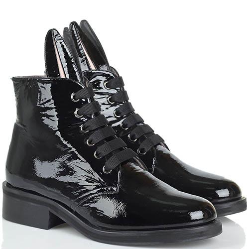 Черные кожаные ботинки Minna Parikka Bunny на шнуровке с ушками, фото