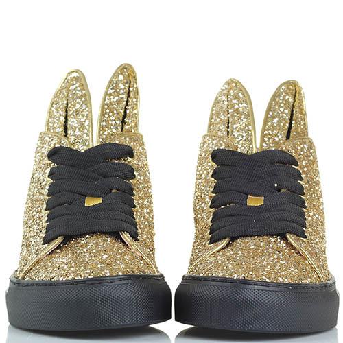 Кеды Minna Parikka Bunny Glitter золотого цвета с ушками , фото