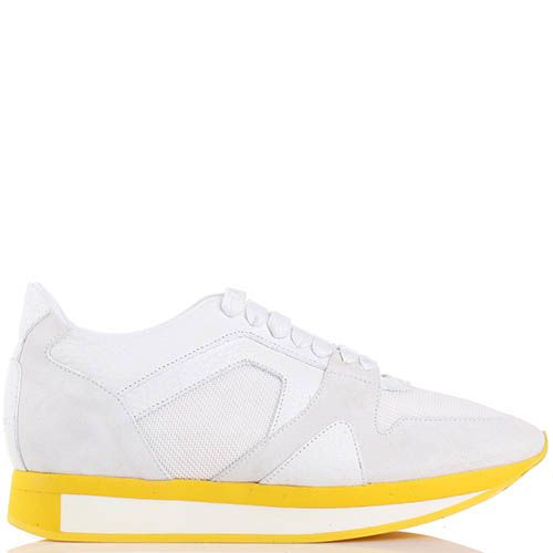 Женские кроссовки Burberry белого цвета на желтой подошве, фото