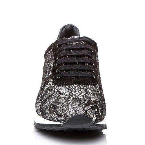 Кроссовки Casadei черного цвета с отделкой серебристым кружевом, фото