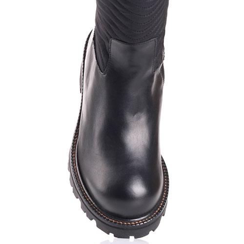 Черные сапоги Twin-Set с текстильным голенищем, фото