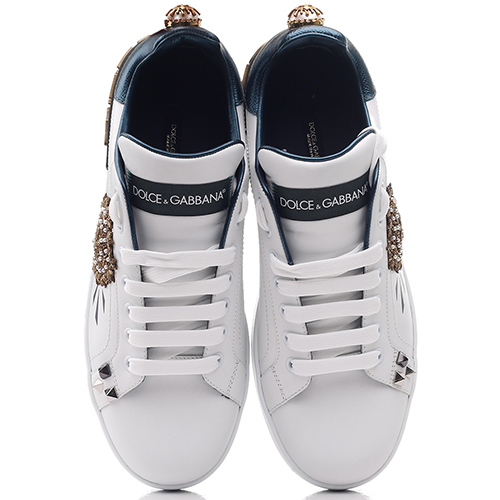 Белые кеды Dolce&Gabbana с аппликацией, фото