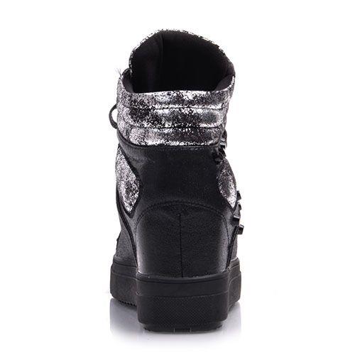 Сникерсы Prego из кожи черного цвета с гранжевыми вставками, фото