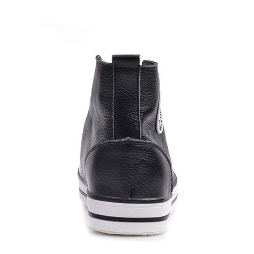 Кеды Prego из натуральной кожи черные на белой подошве и с белой шнуровкой, фото