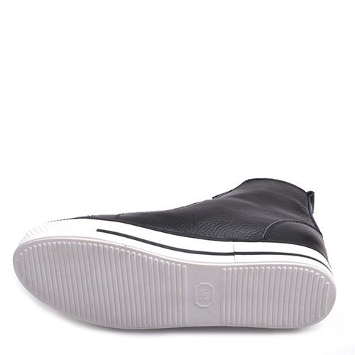 Кеды Prego из кожи черные на белой подошве и с белой шнуровкой, фото