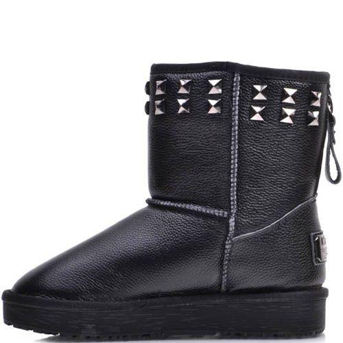 Ботинки Prego зимние кожаные черного цвета на меху с металлическими заклепками, фото