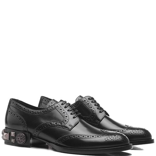 Черные броги Dolce&Gabbana с декором на каблуке, фото