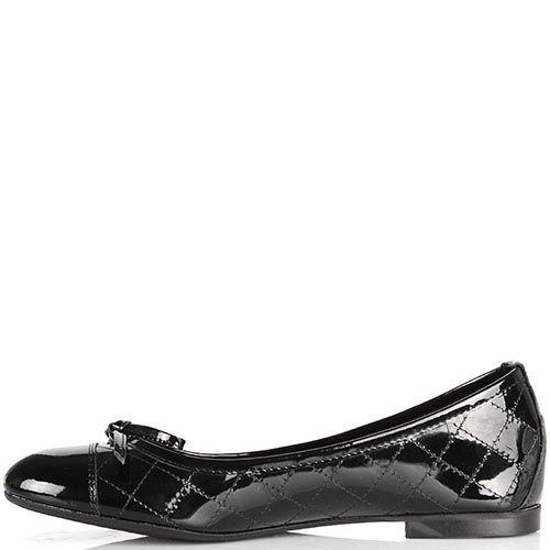 Кожаные черные балетки NilaNila лаковые стеганые, фото