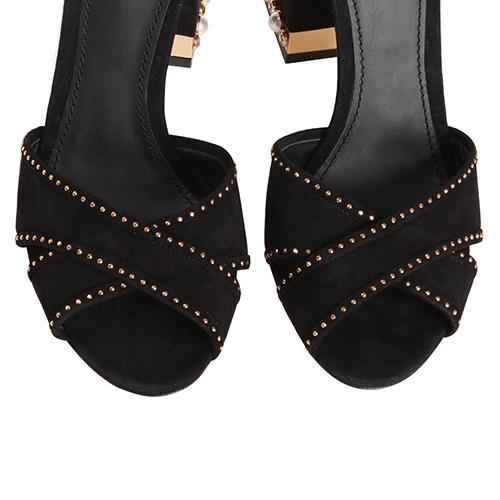 Замшевые босоножки Dolce&Gabbana со стразами и длинным ремешком, фото