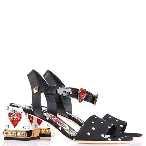 Черные босоножки Dolce&Gabbana с золотым декором на каблуке, фото