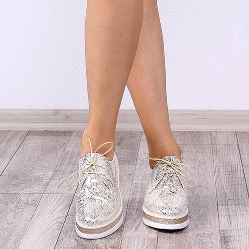 Слипоны со шнуровкой Ovye золотистого цвета на белой танкетке, фото