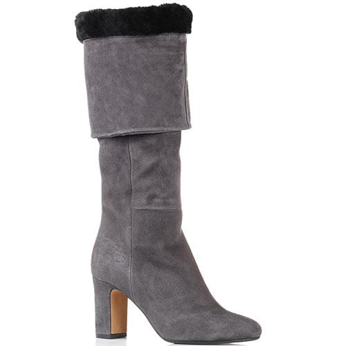 Высокие замшевые сапоги на меху The Seller JD серого цвета, фото