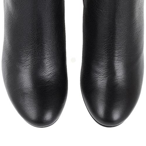Кожаные зимние сапоги The Seller JD черного цвета на устойчивом каблуке, фото