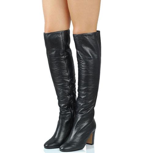 Зимние сапоги The Seller JD черного цвета из гладкой кожи на меху с округлым носочком, фото