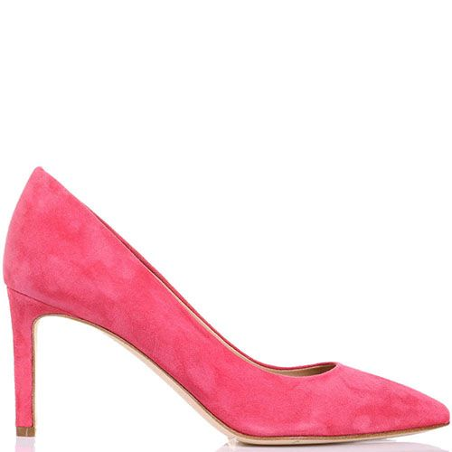 Замшевые туфли-лодочки The Seller JD пурпурно-розового цвета на шпильке, фото