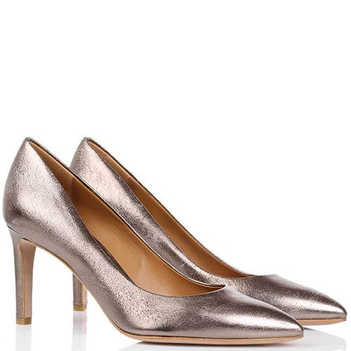 Туфли-лодочки The Seller JD кожаные серебристо-бронзового цвета с эффектом потертости, фото