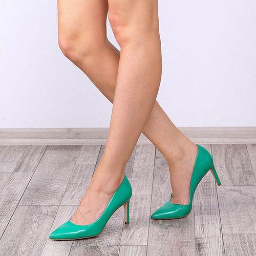 Туфли-лодочки The Seller JD из натуральной кожи зеленого цвета, фото