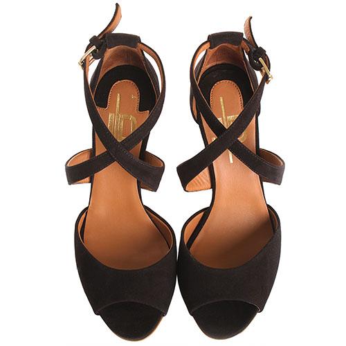 Босоножки The Seller JD коричневого цвета замшевые с двумя ремешками, фото