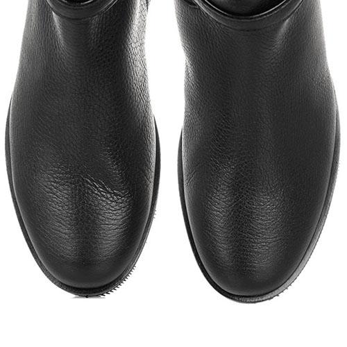 Ботфорты из зернистой кожи The Seller JD черного цвета с декоративным ремешком, фото