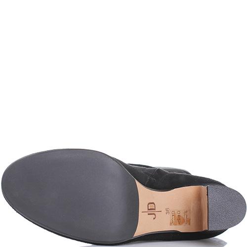 Ботфорты из замши черного цвета The Seller JD на устойчивом каблуке, фото