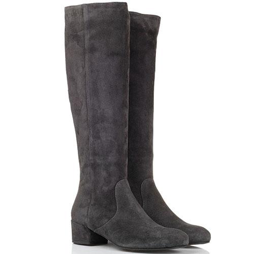 Замшевые сапоги серого цвета The Seller JD на низком каблуке, фото