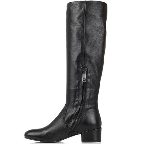 Кожаные сапоги черного цвета The Seller JD на низком каблуке, фото