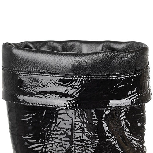 Cапоги из лаковой кожи The Seller JD черного цвета, фото