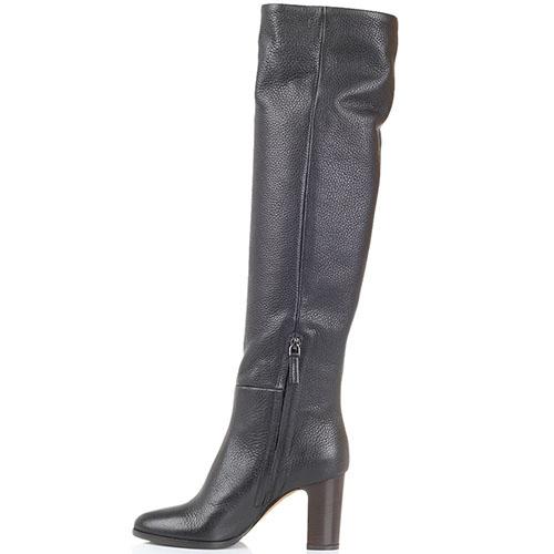 Высокие сапоги из зернистой кожи The Seller JD черного цвета на толстом каблуке, фото