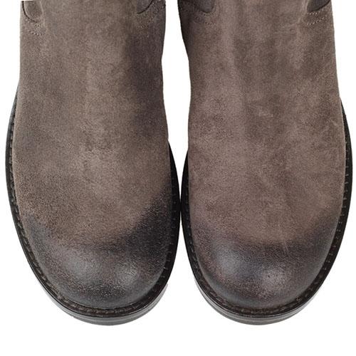Замшевые сапоги The Seller JD серого цвета на рельефной подошве и толстом каблуке, фото