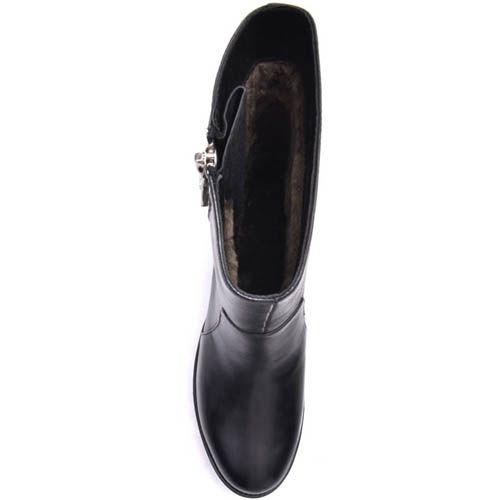 Полусапожки Prego зимние черного цвета с боковой серебристой молнией, фото
