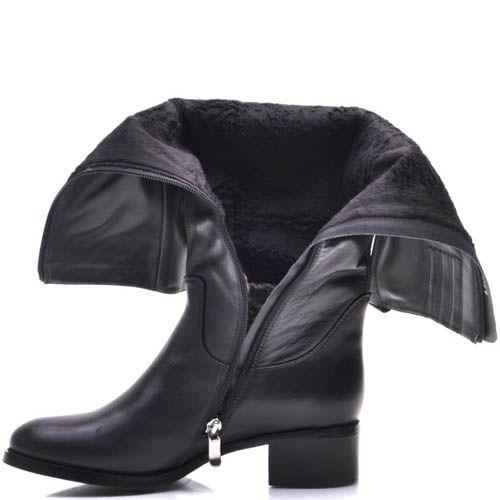 Сапоги Prego зимние кожаные черного цвета с расширенным к верху голенищем, фото