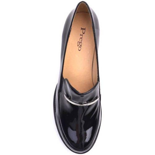 Туфли Prego лаковые черного цвета на толстом каблуке и с серебристой металлической вставкой , фото