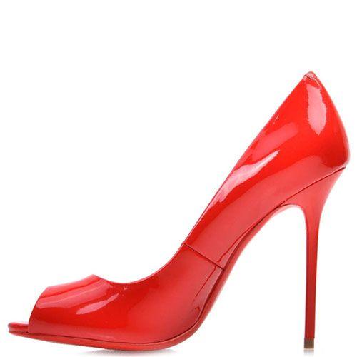 Туфли Prego из натуральной лаковой кожи красного цвета на высокой шпильке с открытым носочком, фото