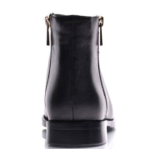 Ботинки Prego женские на низком ходу черного цвета с молнией, фото