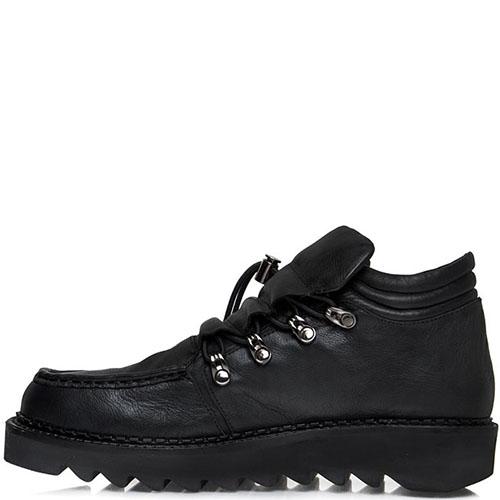 Женские туфли Prego из натуральной кожи черного цвета на толстой подошве, фото