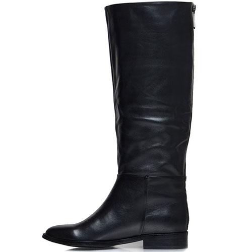 Кожаные сапоги Prego черного цвета на низком ходу, фото