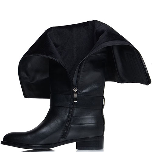 Сапоги Prego из натуральной кожи черного цвета с ремешком, фото
