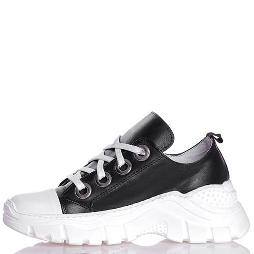 Черные кроссовки Ovye by Cristina Lucchi на толстой подошве с белым носочком, фото
