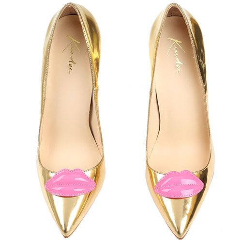 Туфли-лодочки Kandee лаковые золотистые с декоративными розовыми губами, фото