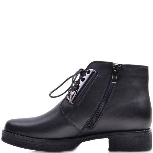 Ботинки Prego черного цвета кожаные с металлической втсавкой для шнуровки, фото