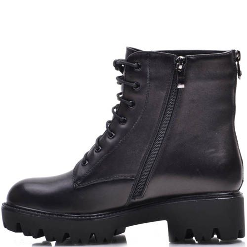 Ботинки Prego черные зимние со шнуровкой и молнией на устойчивом каблуке, фото