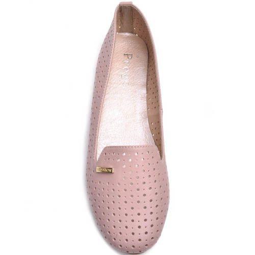 Балетки Prego розового цвета с мелкой круглой перфорацией, фото