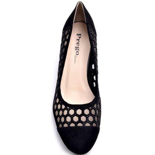Туфли Prego черного цвета замшевые с сеточкой и перфорацией в форме сот, фото