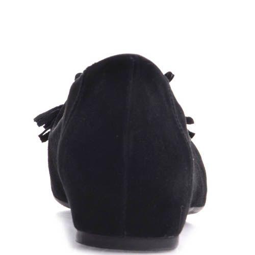 Балетки Prego замшевые черного цвета с кисточками, фото