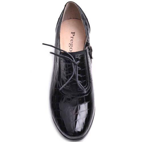 Туфли Prego лаковые черного цвета с рельефным тиснением кожи, фото