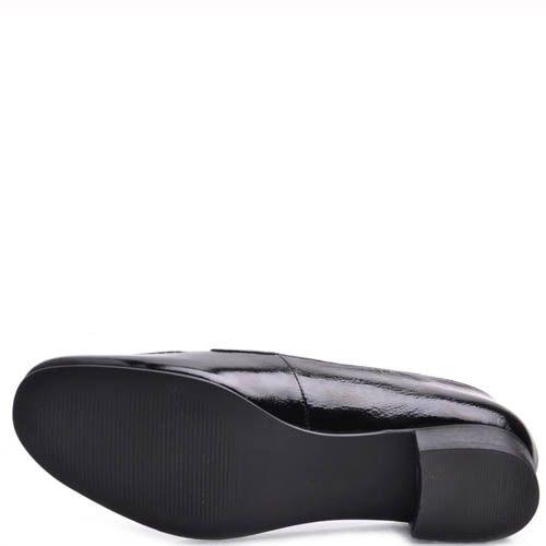 Туфли Prego женские черного цвета лаковые на низком широком каблуке, фото