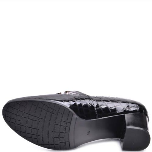 Туфли Prego женские черного цвета лаковые на широком каблуке, фото