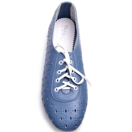 Туфли Prego женские синего цвета на шнуровке с перфорацией, фото