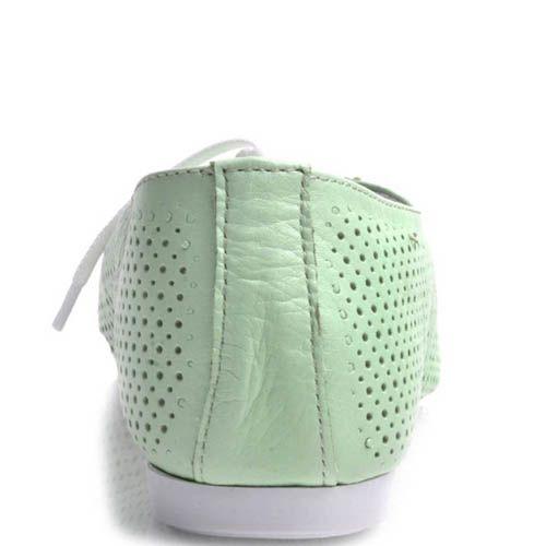 Туфли Prego мятного цвета на шнуровке с перфорацией, фото